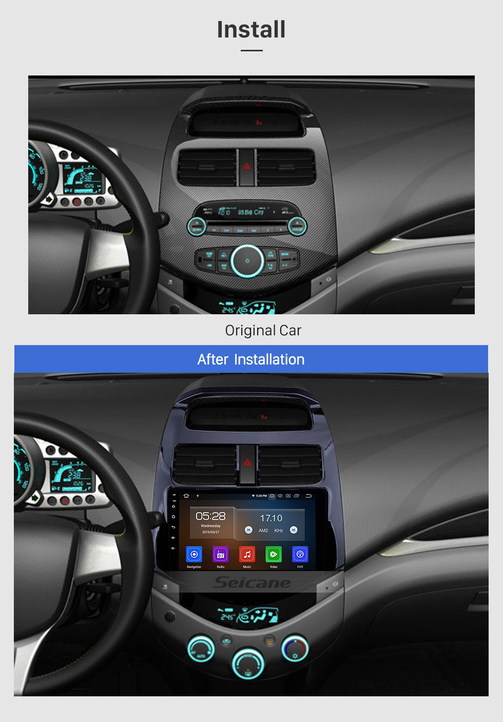 Seicane 9 inch Android 9.0 GPS Navigation for 2011 2012 2013 2014 Chevy Chevrolet DAEWOO Spark Beat Matiz HD Touchscreen Bluetooth Radio Wifi Music USB AUX ssupport DVR OBD2 Carplay Rearview Camera