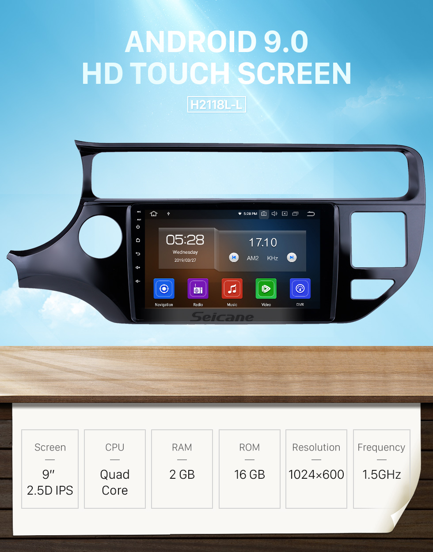 Seicane 2012-2015 Kia Rio LHD Android 9.0 9 Zoll GPS Navigationsradio Bluetooth HD Touchscreen USB Carplay Musikunterstützung TPMS DAB + 1080P Video Mirror Link