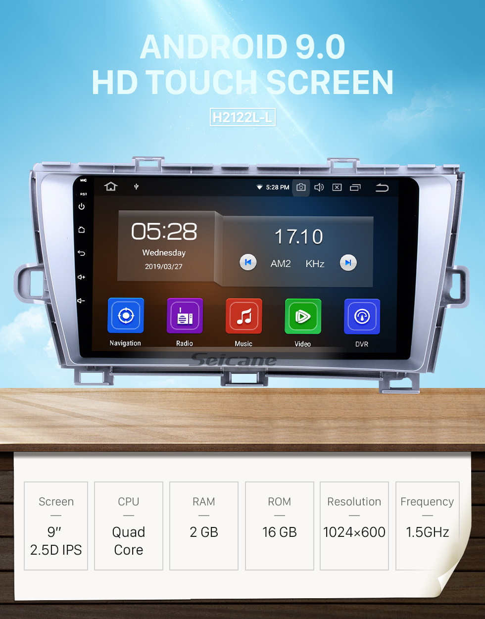 Seicane 9 inch Android 9.0 HD 1024*600 Touch Screen Radio GPS Car A/V System for 2009-2013 Toyota Prius Left hand driver Bluetooth Music 4G WiFi Mirror Link OBD2 Rearview Camera DVD player Steering Wheel Control AUX DVR USB