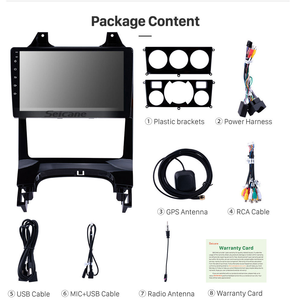 Seicane 2009-2012 Peugeot 3008 9 inch Android 9.0 1024*600 Touchscreen Radio GPS Sat Nav with Bluetooth 4G WIFI OBD2 Rearview Camera Steering Wheel Control