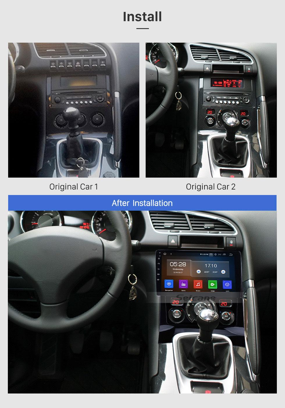 Seicane 2009-2012 Peugeot 3008  9 Zoll Android 9.0 1024 * 600 Touchscreen Radio GPS Sat Nav mit Bluetooth 4G WIFI OBD2 Rückfahrkamera Lenkradsteuerung