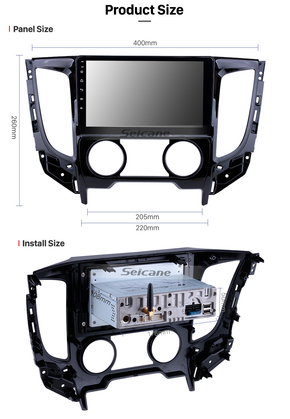 Seicane 9 Zoll Android 9.0 2015 Mitsubishi TRITON Handbuch A / C 1024 * 600 Touchscreen-Radio mit GPS GPS Navi USB FM Bluetooth WIFI Unterstützung RDS Carplay 4G DVD Player