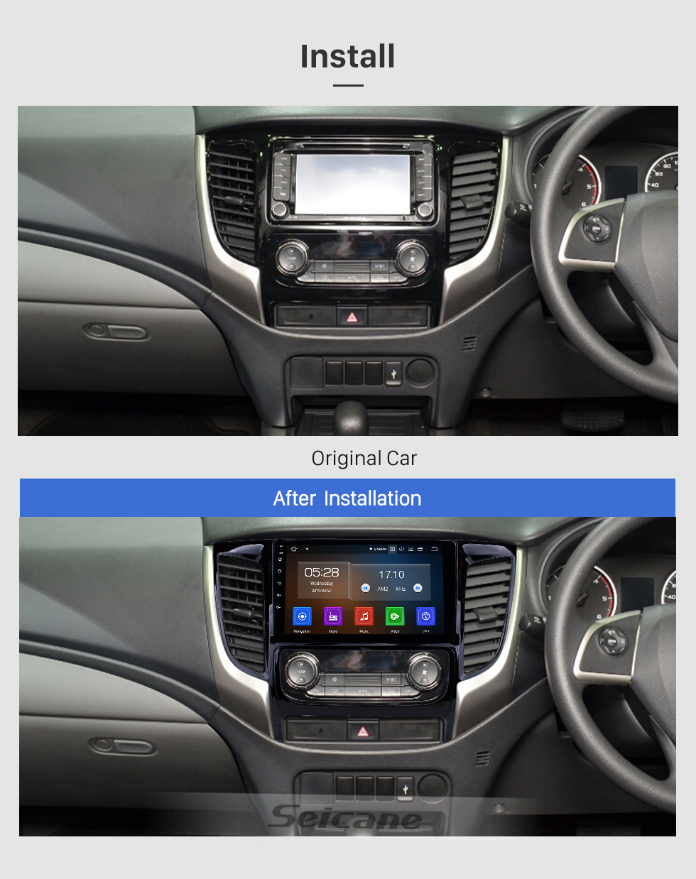 Seicane 2015 Mitsubishi TRITON Auto A/C 9 Inch Android 9.0 Radio GPS Navigation with HD Touchscreen Bluetooth WIFI Mirror Link USB AUX RDS Steering Wheel Control