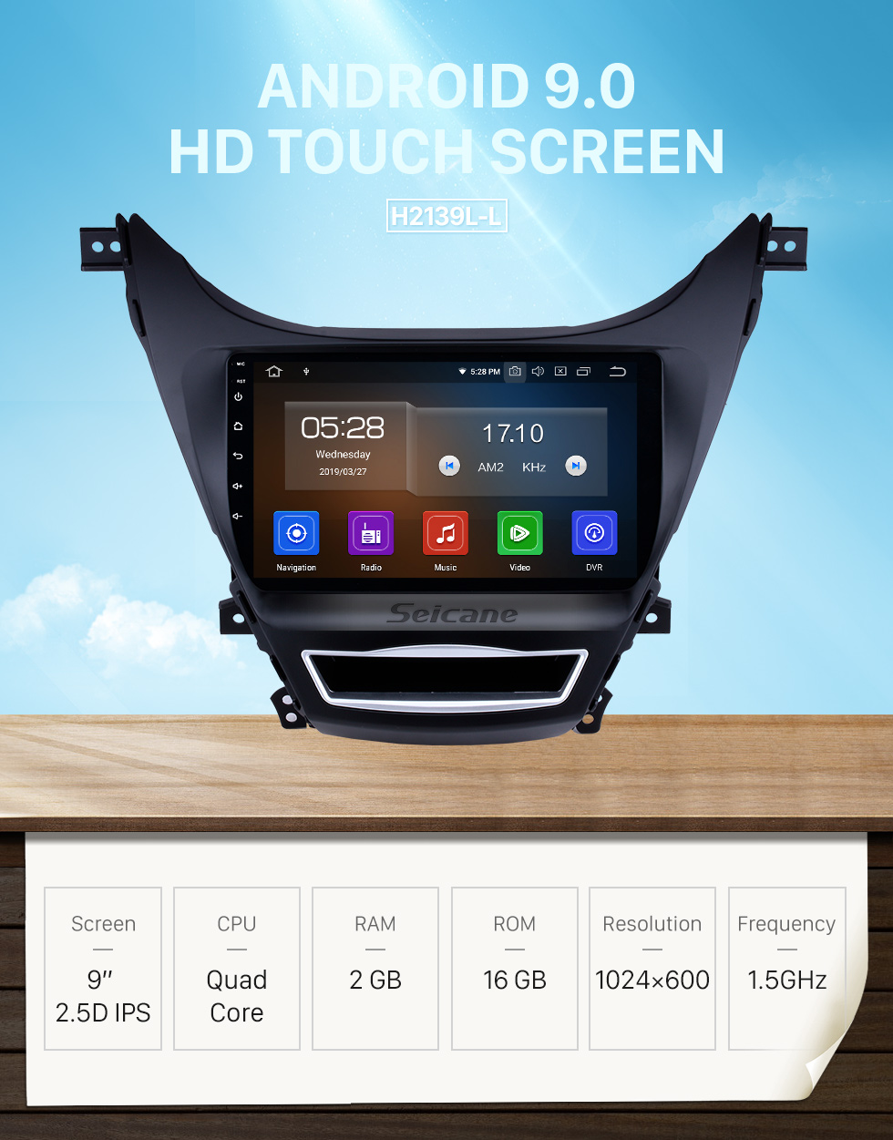 Seicane 9 inch Android 9.0 Radio GPS Car Navigation System for 2012 2013 Hyundai Elantra with Quad-core CPU Bluetooth Music 4G WiFi Mirror Link OBD2 Rearview Camera Steering Wheel Control AUX DVR 16G Flash