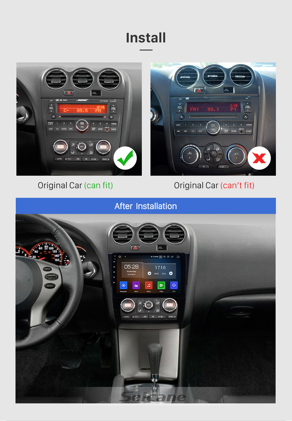 Seicane 2008-2012 Nissan Teana ALTIMA Auto A / C 9 Zoll Android 9.0 GPS-Navigationsradio mit Bluetooth Carplay USB WIFI HD Touchscreen-Stereo-Unterstützung DVR DVD