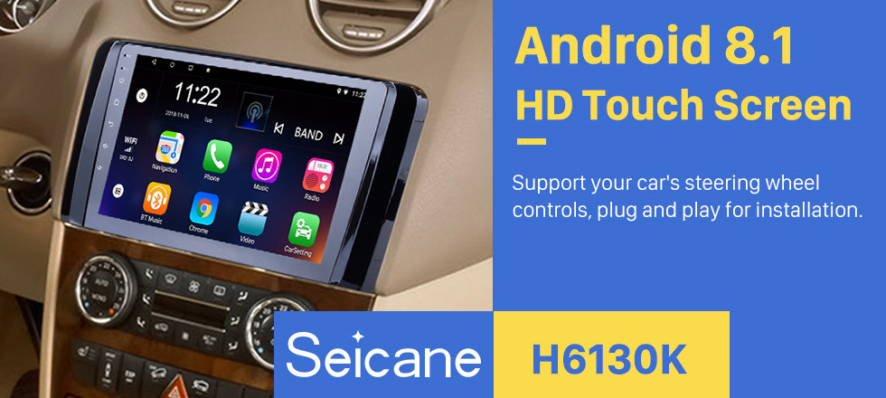 Seicane OEM Android 8.1 Radio GPS  navigation system for 2006-2013 Mercedes Benz R Class W251 R280 R300 R320 R350 R63 with Bluetooth HD 1024*600 touch screen support OBD2 DVR Rearview camera TV 3G WIFI