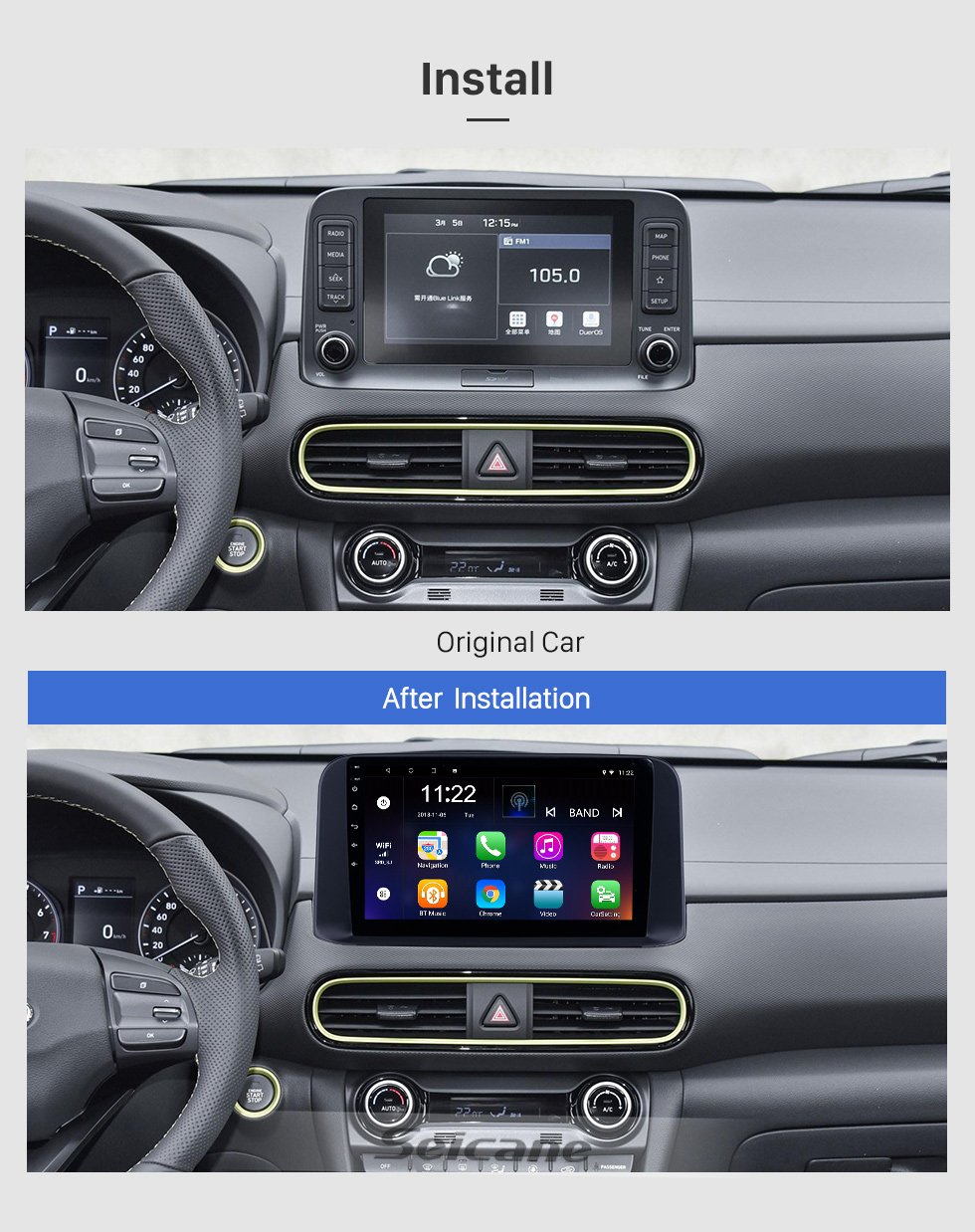 Seicane 10.1 inch 2018 2019 Hyundai ENCINO Android 8.1 HD Touchscreen GPS Navi Radio with WIFI AUX Bluetooth support RDS Carplay 3G Steering Wheel Control
