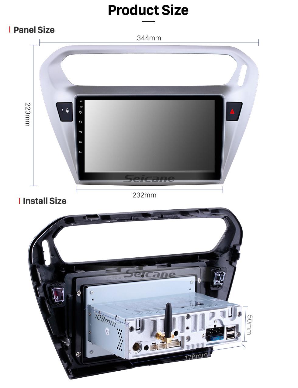 Seicane 9 pulgadas 2013 2014 Peugeot 301 Citroen Elysee Citroen C-Elysee Android 9.0 Radio GPS HD 1024 * 600 Pantalla táctil 4G WIFI Volante OBD2 RDS Control Mirror Link Bluetooth