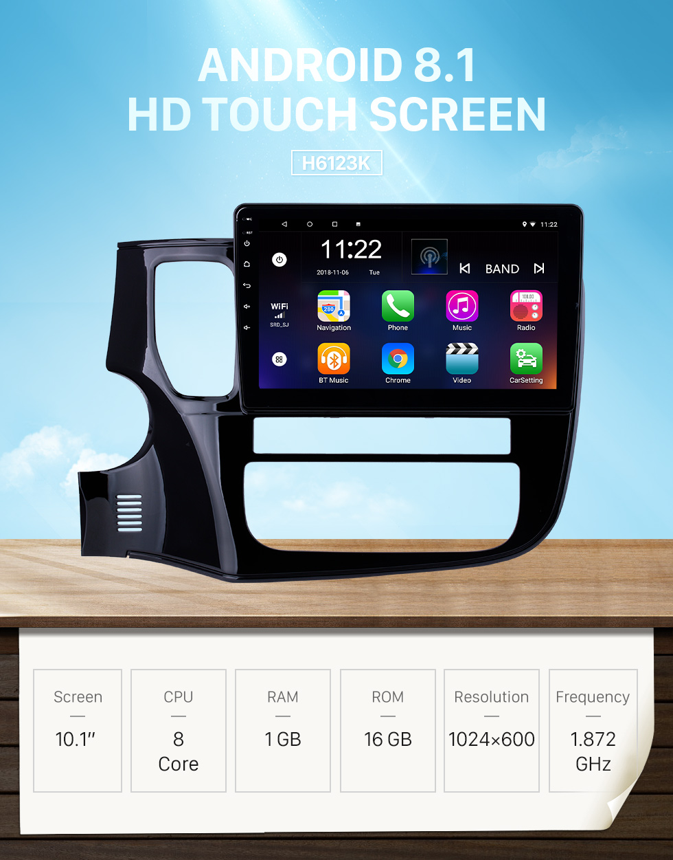 Seicane 2014-2017 Mitsubishi OUTLANDER 10.1 inch Android 8.1 Bluetooth Radio GPS Navigation Stereo USB Steering Wheel Control 3G WIFI Rearview Camera OBD DVR