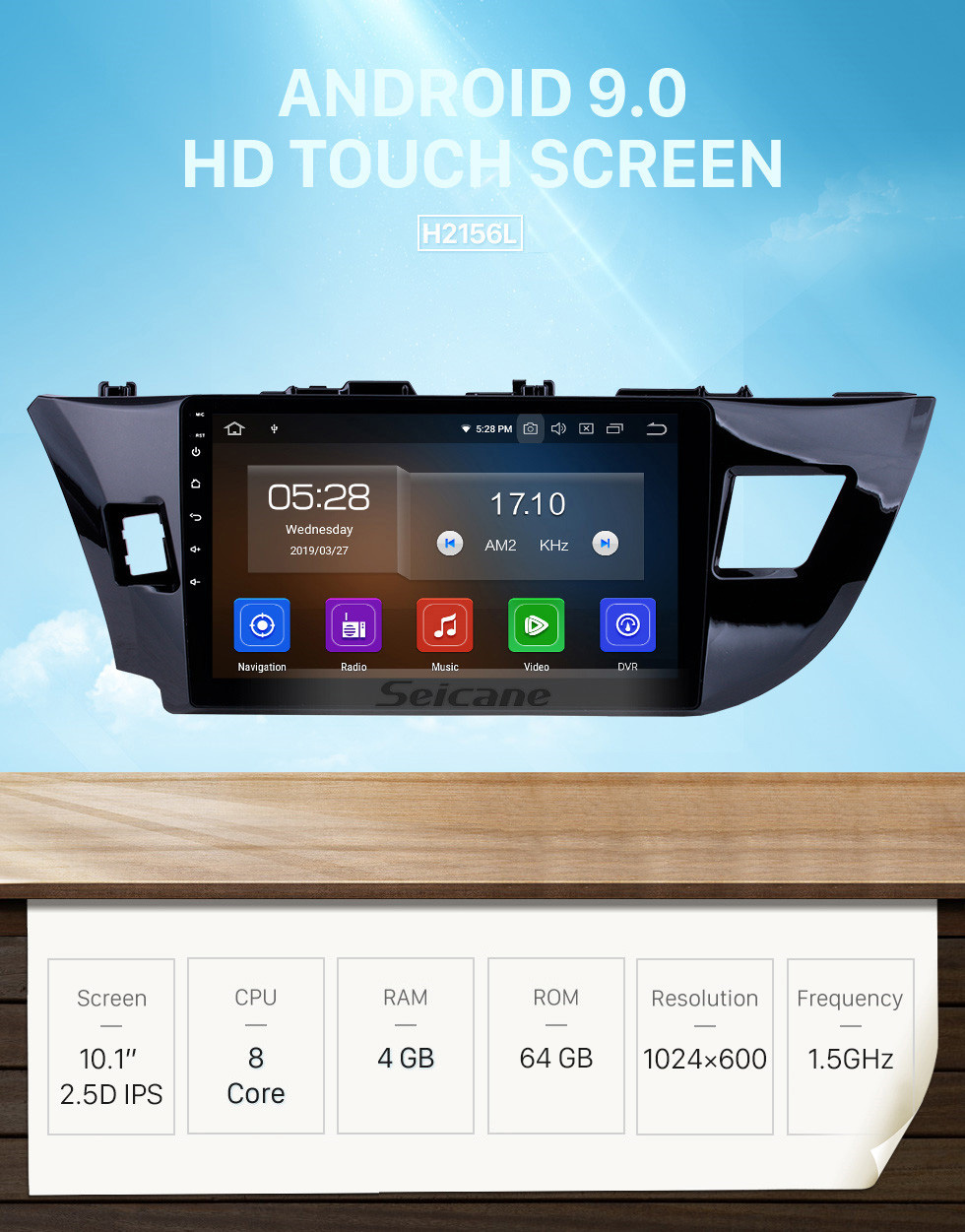 Seicane OEM 10.1 inch Android 9.0 HD Touchscreen Bluetooth Radio for 2014 Toyota Levin with GPS Navigation USB FM auto stereo Wifi AUX support DVR TPMS Backup Camera OBD2 SWC