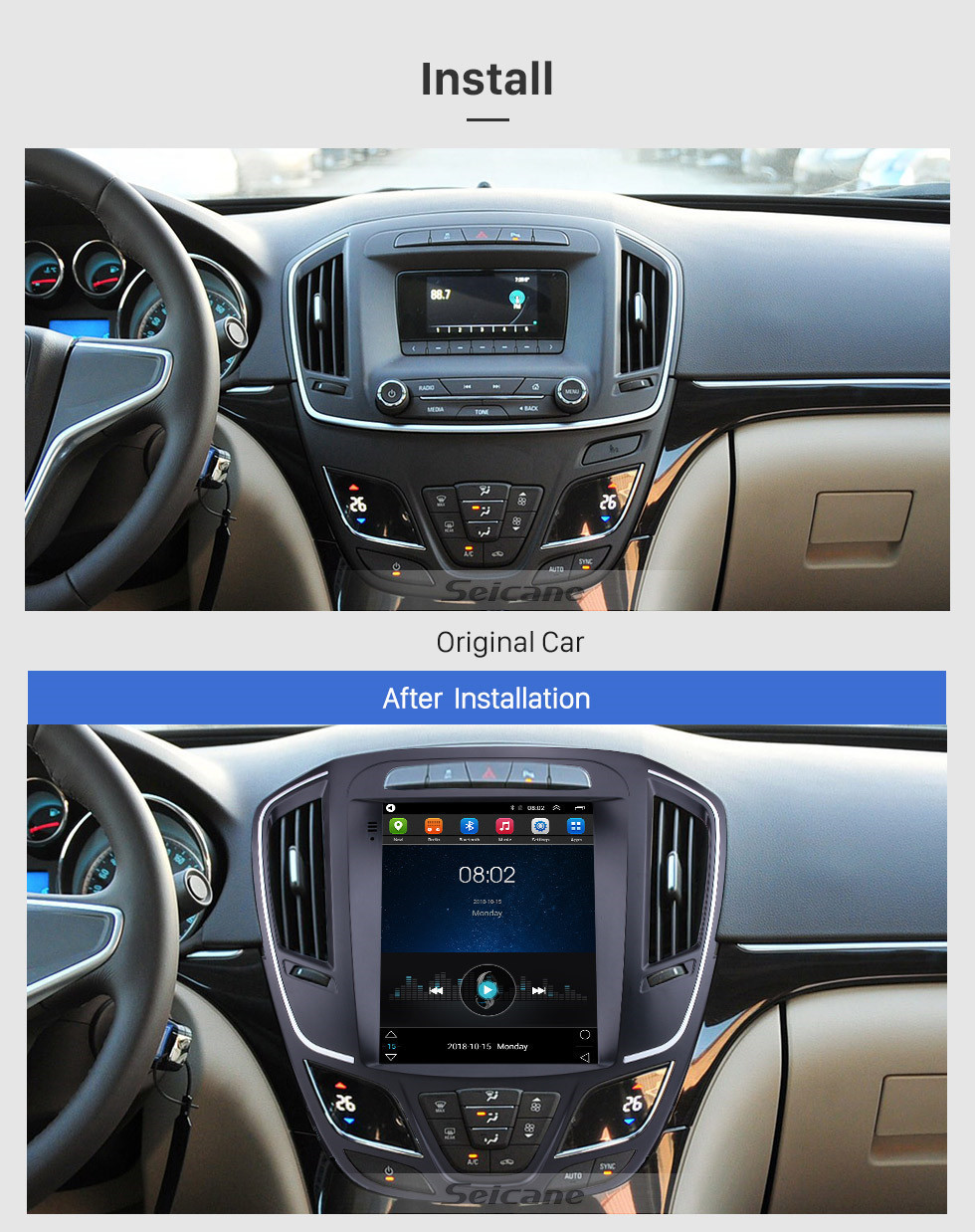 Seicane 9.7 Inch 2014 Buick Regal Android 9.1 Touch Screen Radio GPS Navigation System Support Mirror link DVR USB 1080P Video 4G WIFI Rearview Camera TV Steering Wheel Control