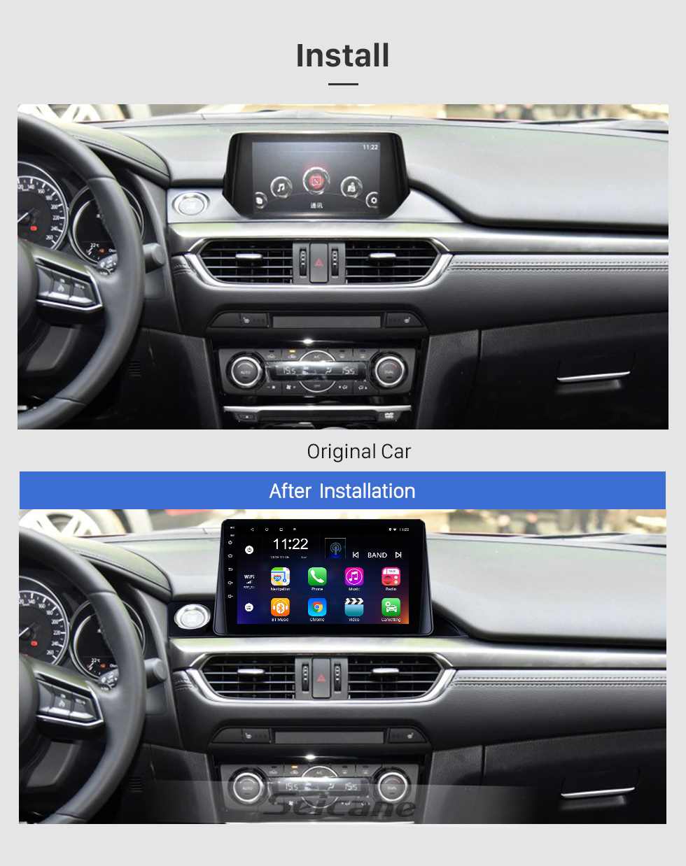 Seicane 9 inch HD Touch Screen 2017 Mazda ATENZA Android 8.1 Radio GPS Navigation system with Bluetooth USB 3G WIFI OBD2 Mirror Link Rearview Camera