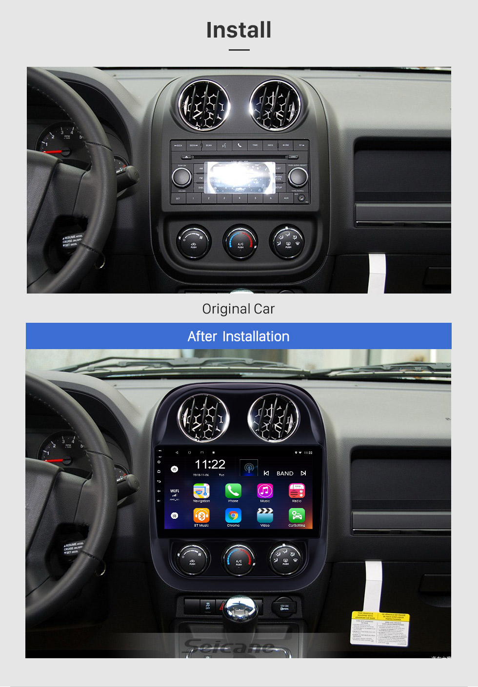Seicane 2010-2016 Jeep Compass Android 8.1 GPS Navigation 10.1 inch HD Touchscreen Radio Bluetooth Mirror Link WIFI USB support Steering Wheel Control 3G Carplay Rearview