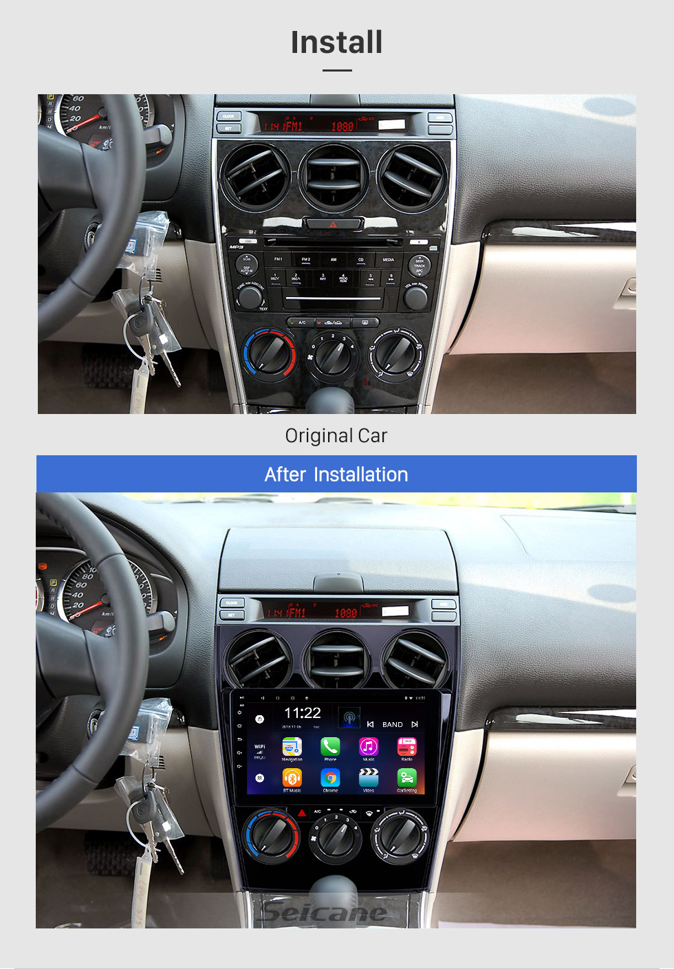 Seicane 2004-2015 alter Mazda 6 HD Touchscreen 9 Zoll Android 8.1 Stereo Bluetooth GPS-Navigationsunterstützung Lenkradsteuerung 3G WIFI OBD2 Carplay DVR