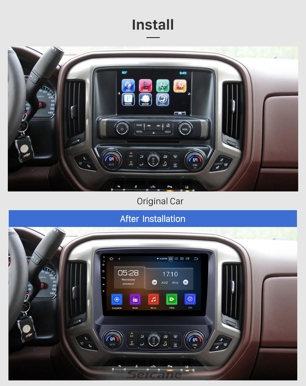 Seicane 2014-2018 Chevy Chevrolet Colorado 10.1 inch Bleutooth Radio Android 9.0 GPS Navi HD Touchscreen Carplay Stereo support DVR DVD Player 4G WIFI