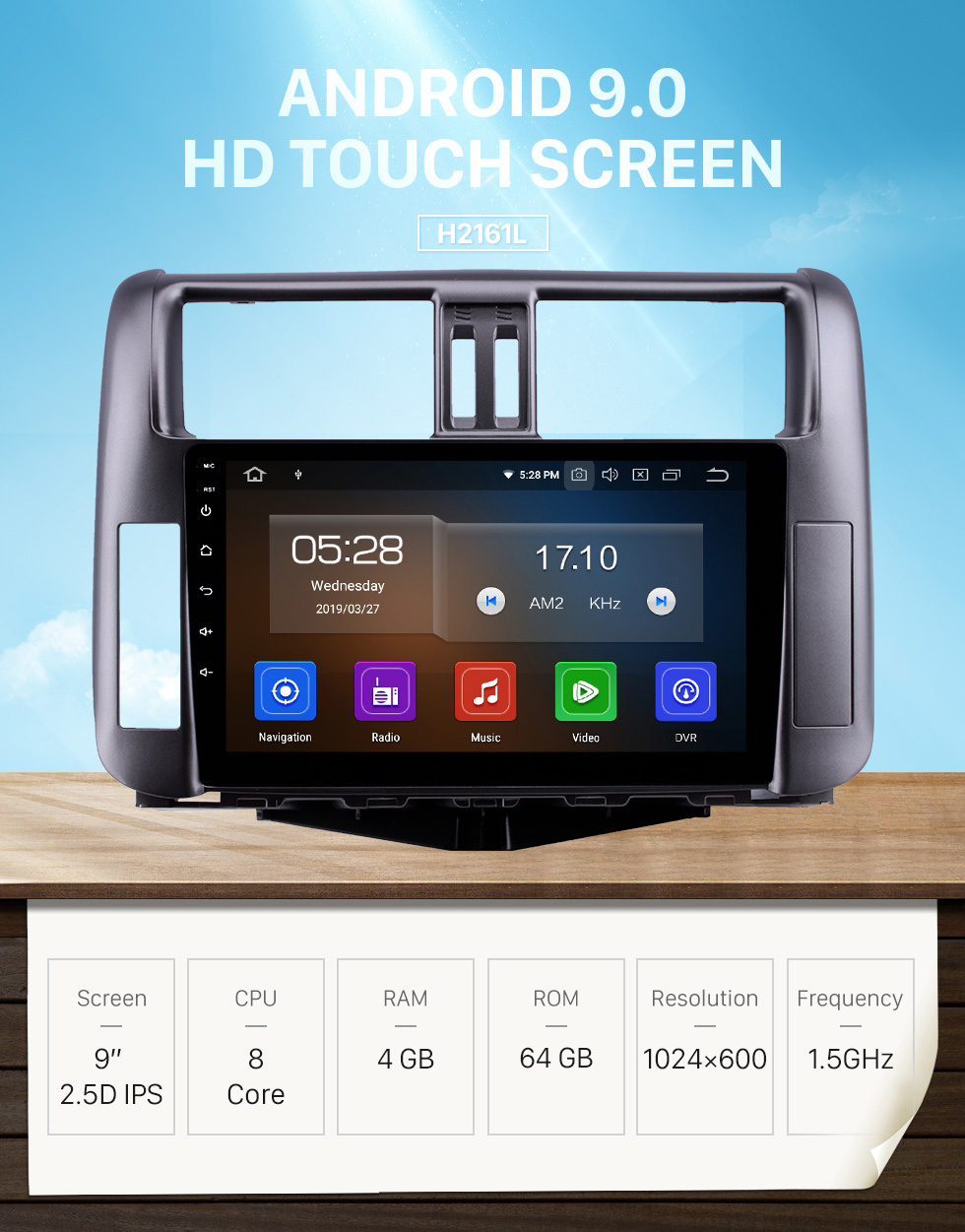 Seicane OEM 9 inch Android 9.0 HD Touchscreen Bluetooth Radio for 2010-2013 Toyota Prado 150 with GPS Navigation USB FM auto stereo Wifi AUX support DVR TPMS Backup Camera OBD2 SWC