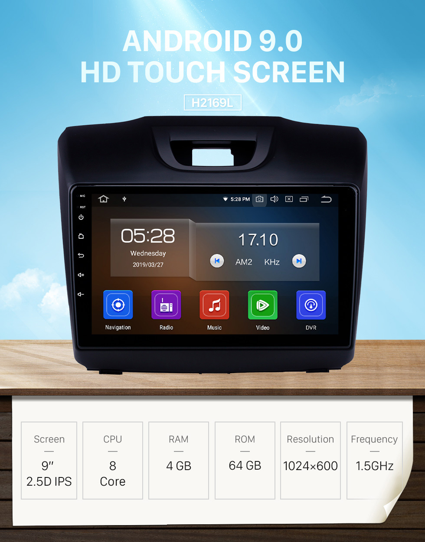 2015 2016 2017 2018 ISUZU D-Max 9 inch Android 9 0 HD