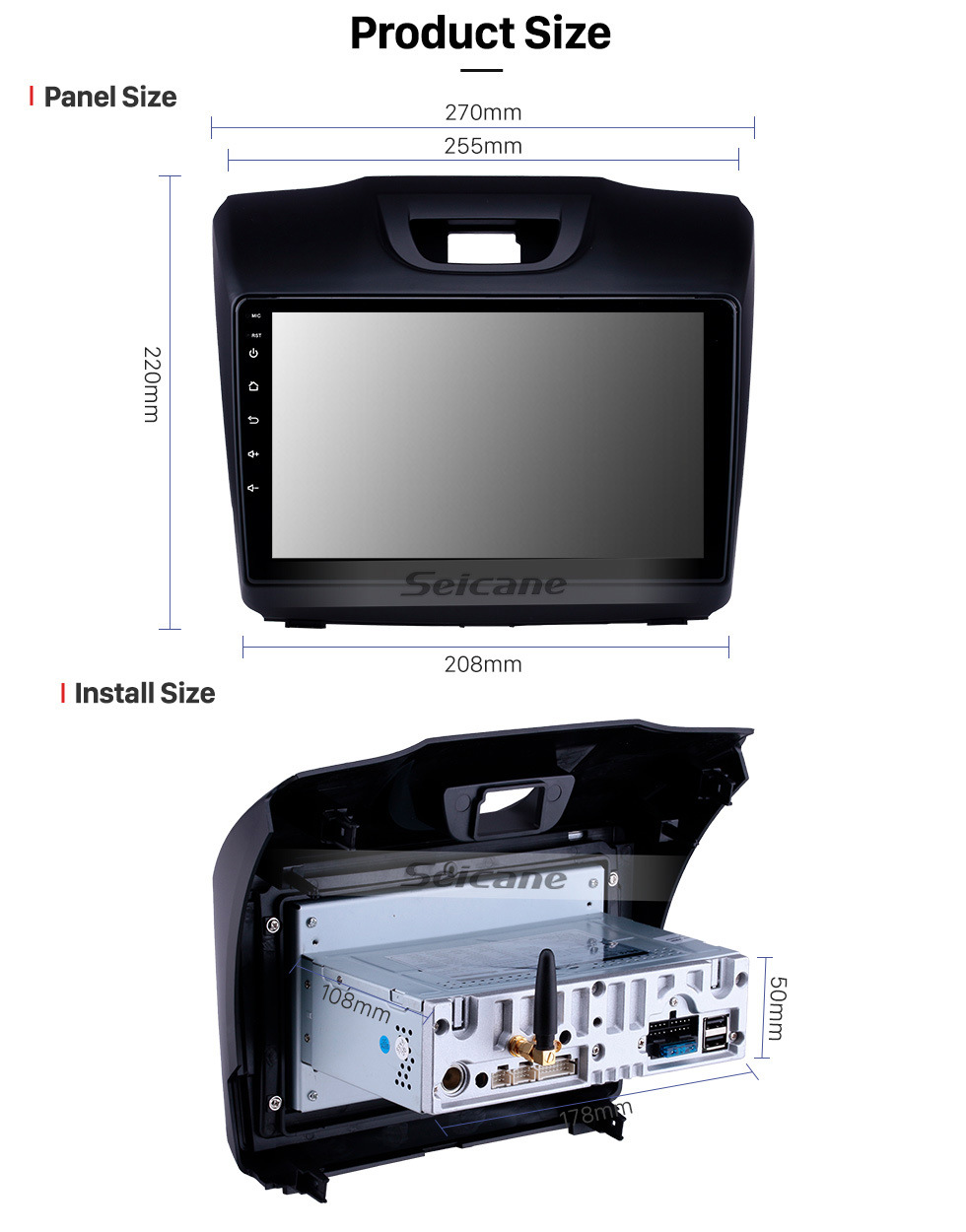 Seicane 2015 2016 2017 2018 ISUZU D-Max 9 polegada Android 9.0 HD Tela Sensível Ao Toque Bluetooth GPS Navi Rádio com USB Carplay WIFI AUX apoio DVR 1080 P TPMS OBD DVD SWC
