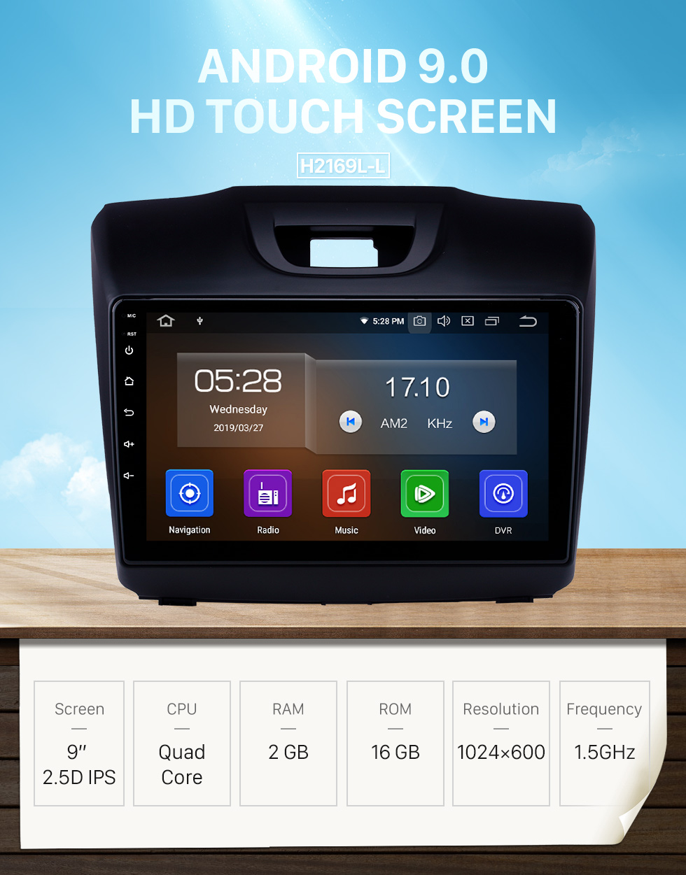 Seicane OEM 9 pouces Android 9.0 Radio pour 2015 2016 2017 2018 ISUZU D-Max Bluetooth Wifi HD Écran Tactile Navigation GPS Carplay USB support 4G SWC RDS OBD2