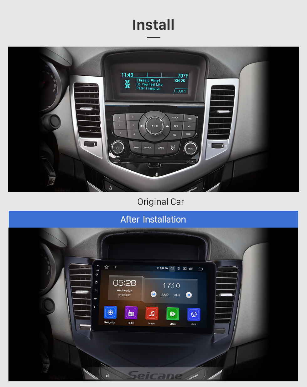 Seicane 2013-2015 chevy Chevrolet CRUZE Android 9.0 9 inch GPS Navigation Bluetooth Radio with USB FM Music Carplay support Steering Wheel Control 4G Backup camera
