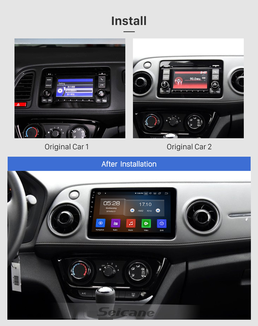 Seicane 10.1 inch Android 9.0 Radio for 2014-2016 Honda XRV with HD Touchscreen GPS Nav Carplay Bluetooth FM support DVR TPMS Steering Wheel Control 4G WIFI SD