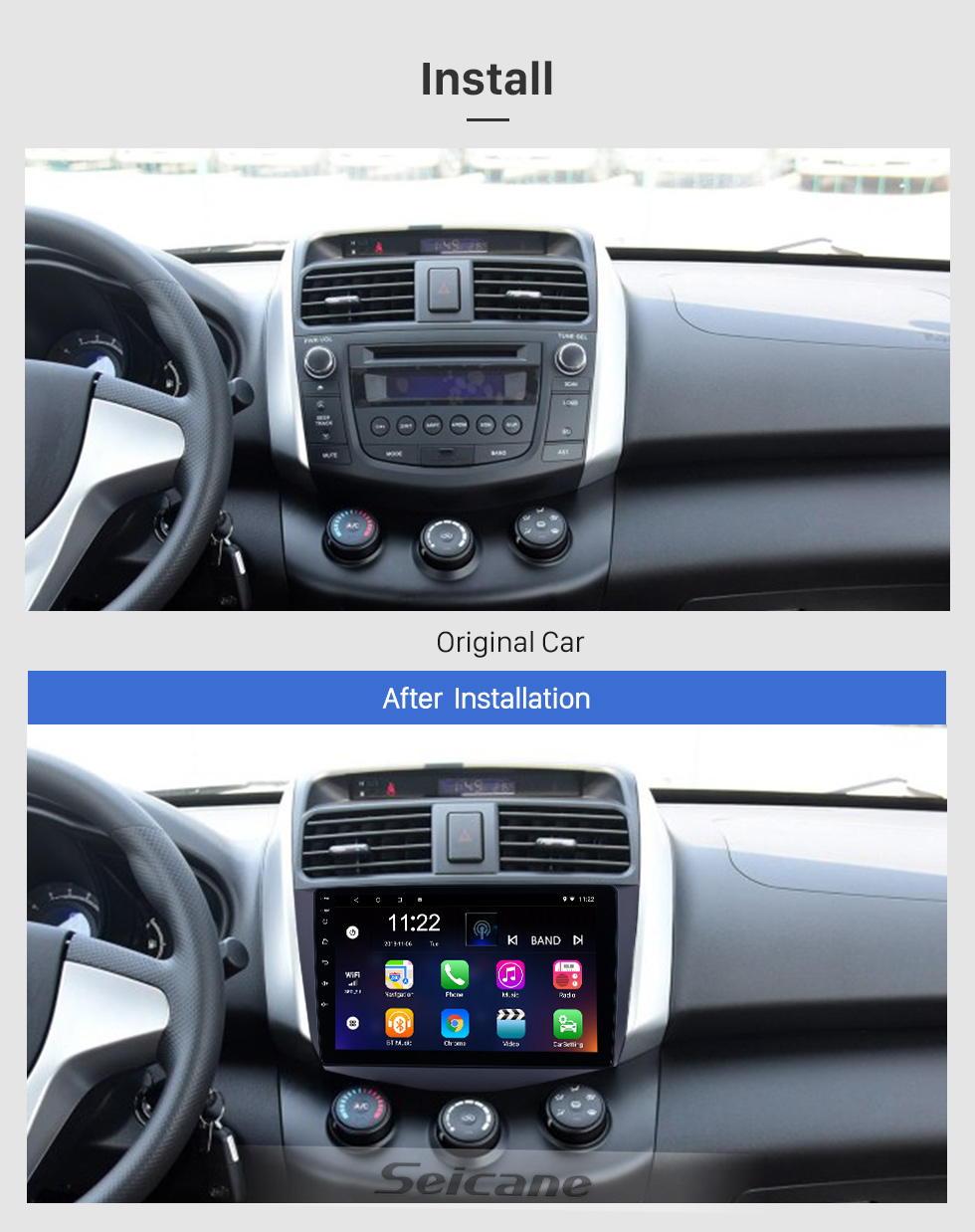 Seicane HD Touchscreen 9 inch Android 8.1 GPS Navigation Radio for 2011-2016 Lifan X60 with Bluetooth USB WIFI AUX support DVR Carplay SWC 3G Backup camera