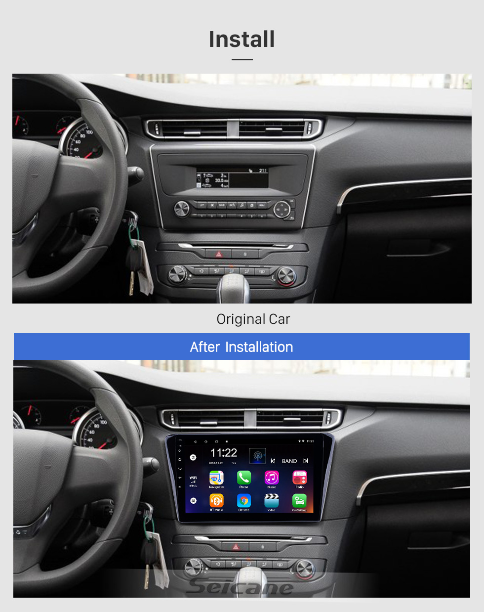 Seicane 2014 Peugeot 408 Touch Screen Android 8.1 10,1-Zoll-Kopfeinheit Bluetooth-Stereo mit USB AUX WIFI-Unterstützung DAB + OBD2 DVR