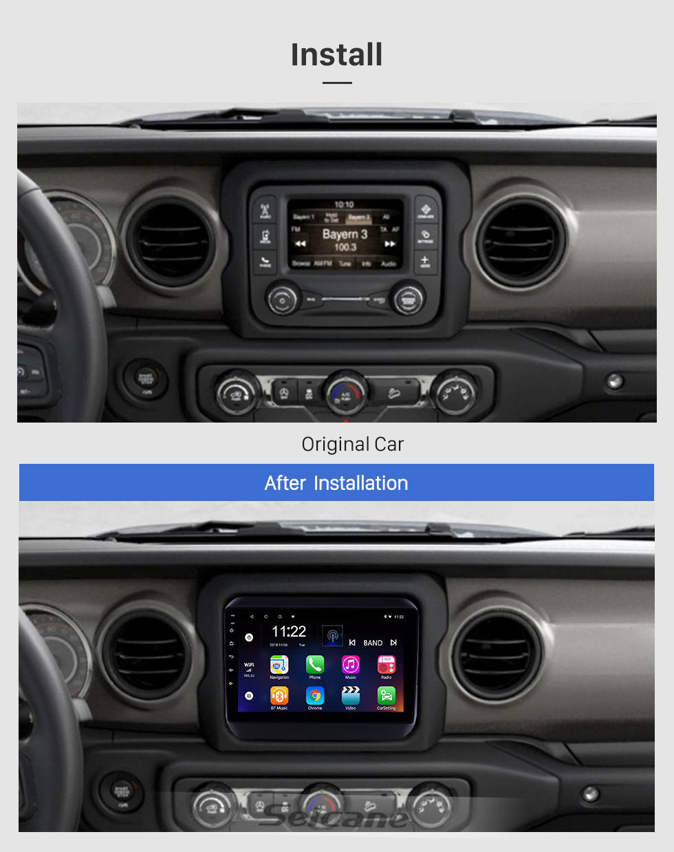 Seicane 9 inch Android 8.1 GPS Navigation Radio for 2018 Jeep Wrangler with Bluetooth WIFI USB AUX HD Touchscreen support Carplay DVR OBD