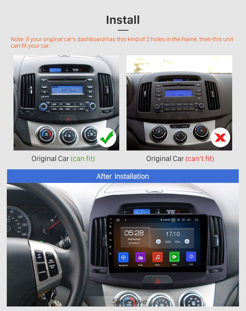 Seicane 2007-2011 Hyundai Elantra Android 9.0 9 inch GPS Navigation Radio Bluetooth HD Touchscreen USB Carplay Music support TPMS OBD2 Steering Wheel Control