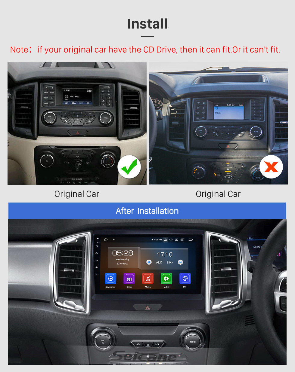 Seicane 2015 Ford Ranger Touchscreen Android 9.0 9 inch GPS Navigation Radio Bluetooth Multimedia Player Carplay Music AUX support Digital TV 1080P