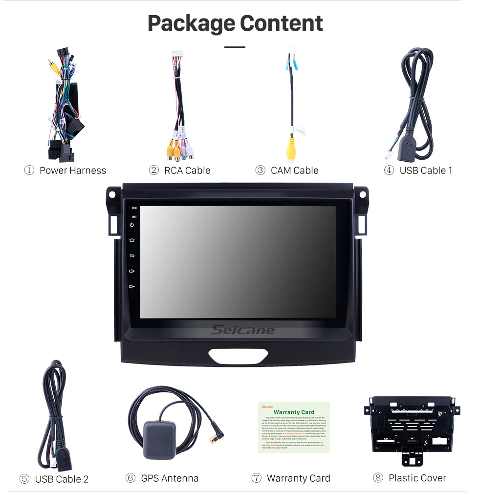 Seicane Android 8.1 9 inch Touchscreen GPS Navigation Radio for 2015 Ford Ranger with USB WIFI Bluetooth Music AUX support Carplay Digital TV TPMS SWC