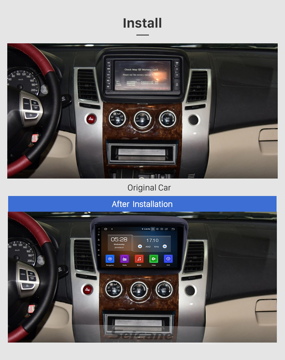 Seicane HD Touchscreen 2010 MITSUBISHI PAJERO Sport / L200 / 2006 + Triton / 2008 + PAJERO Sport2 Montero Sport / 2010 + Pajero Dakar / 2008 + Challenger Android 9.0 9 Zoll GPS Navigationsradio Bluetooth USB Carplay Musik AUX Unterstützung TPMS SWC OBD2 Digital T