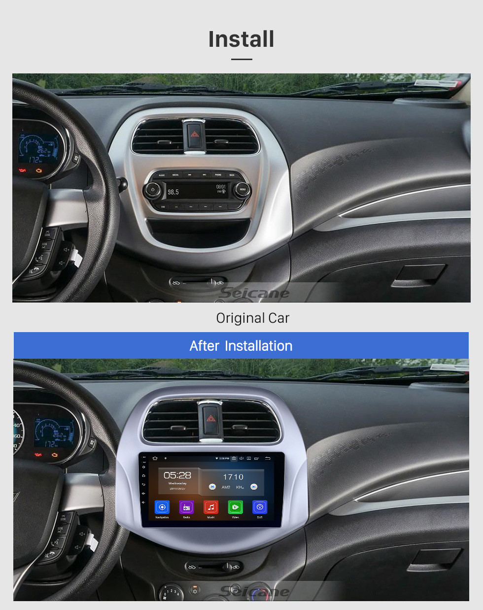 Seicane 2018-2019 chevy Chevrolet Daewoo Matiz/ Spark/ Baic/ Beat Touchscreen Android 9.0 9 inch GPS Navigation Radio USB Bluetooth Carplay AUX support DVR OBD2