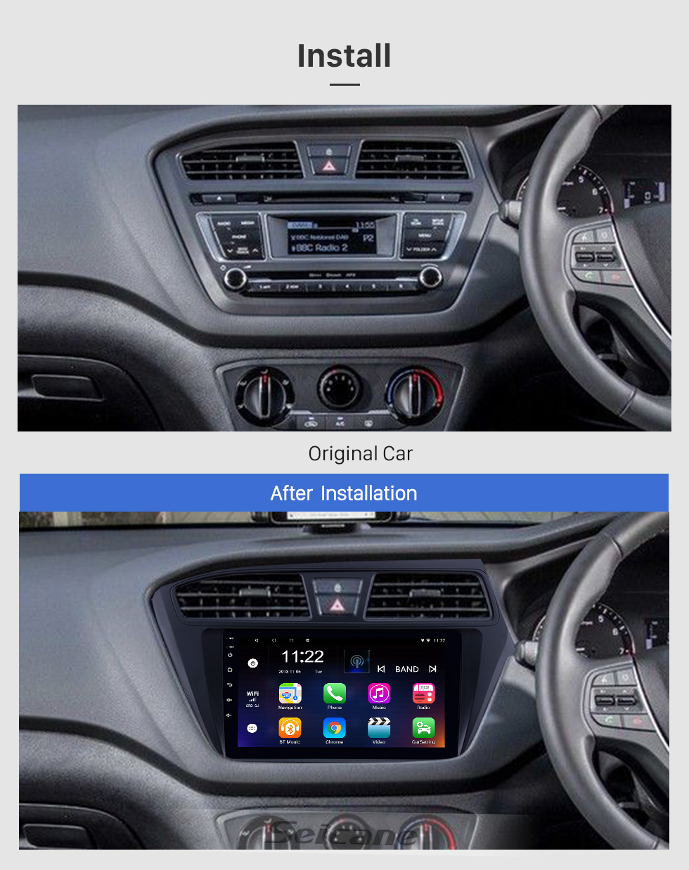 Seicane 2014-2017 Hyundai i20 RHD 9 inch Android 8.1 HD Touchscreen Bluetooth Radio GPS Navigation Stereo USB AUX support Carplay 3G WIFI Mirror Link