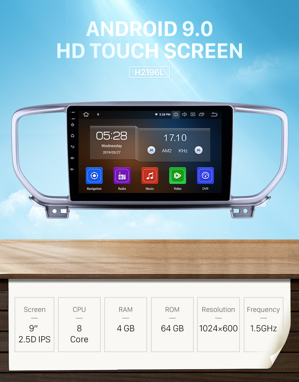 Seicane 9 inch Android 9.0 Radio for 2018-2019 Hyundai i20 RHD with GPS Navigation HD Touchscreen Bluetooth Carplay Audio System support Rearview camera TPMS
