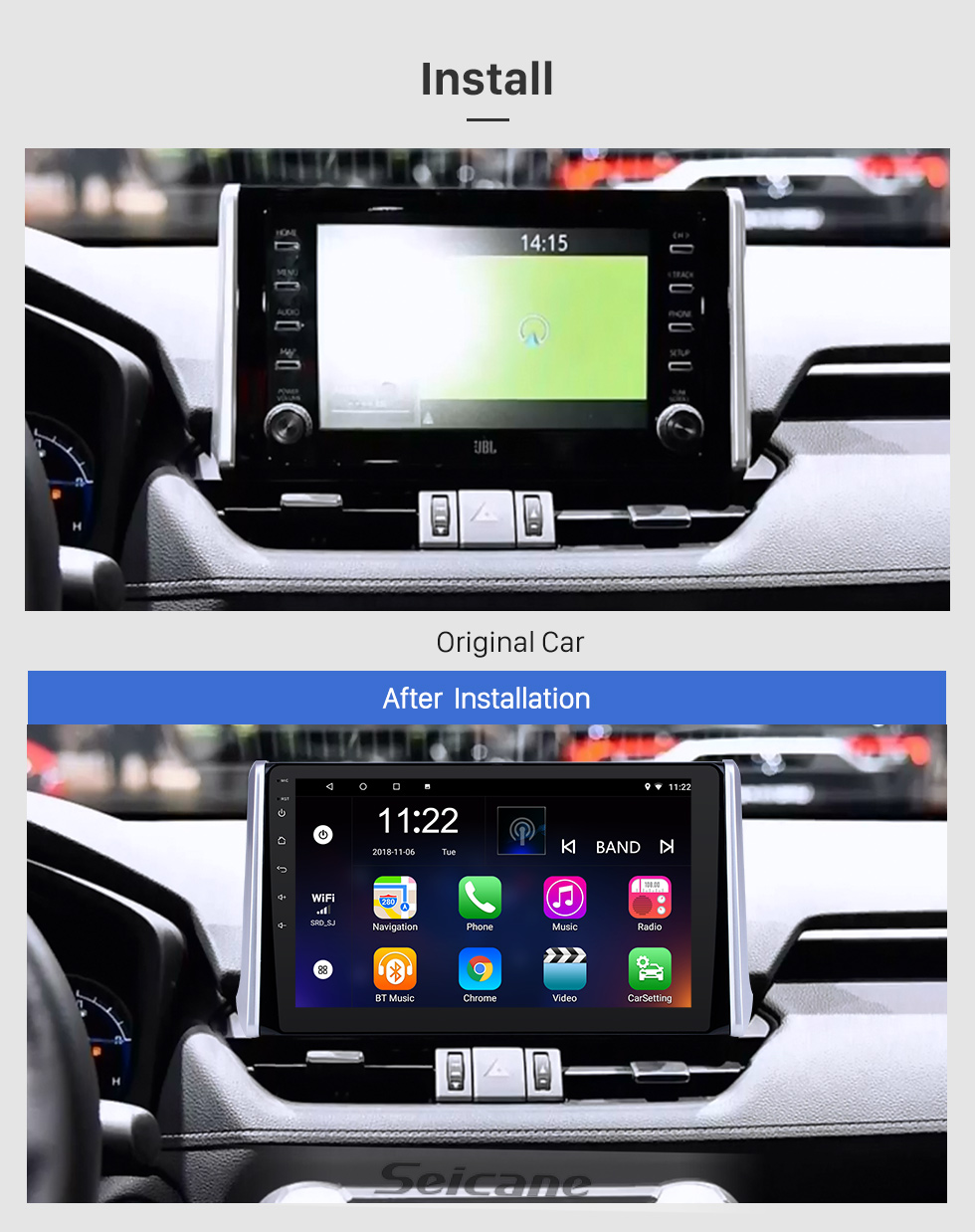 Seicane 10.1 inch Android 8.1 HD Touchscreen GPS Navigation Radio for 2019 Toyota RAV4 with Bluetooth USB WIFI AUX support Carplay Rear camera OBD TPMS