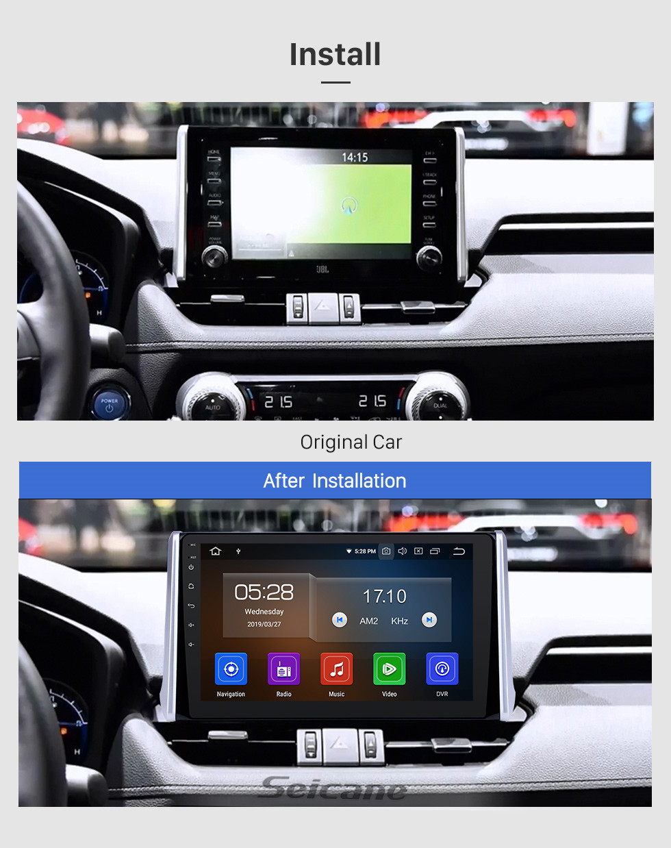 Seicane 10.1 inch Android 9.0 GPS Navigation Radio for 2019 Toyota RAV4 with HD Touchscreen Carplay Bluetooth WIFI USB AUX support Mirror Link OBD2 SWC