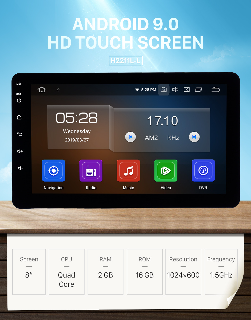 Seicane 8 inch Android 9.0 Universal Radio Bluetooth HD Touchscreen GPS Navigation Carplay USB AUX support 4G WIFI Rearview camera OBD2 TPMS DAB+ DVR