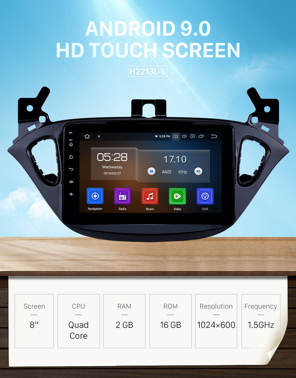 Seicane 8 pouces Android 9.0 Radio pour 2015-2019 Opel Corsa / 2013-2016 Opel Adam Bluetooth Wifi HD écran tactile Navigation GPS support Carplay USB