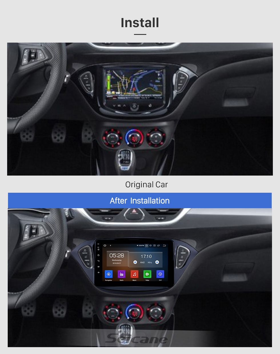 Seicane 8 inch Android 9.0 Radio for 2015-2019 Opel Corsa/2013-2016 Opel Adam Bluetooth Wifi HD Touchscreen GPS Navigation Carplay USB support TPMS