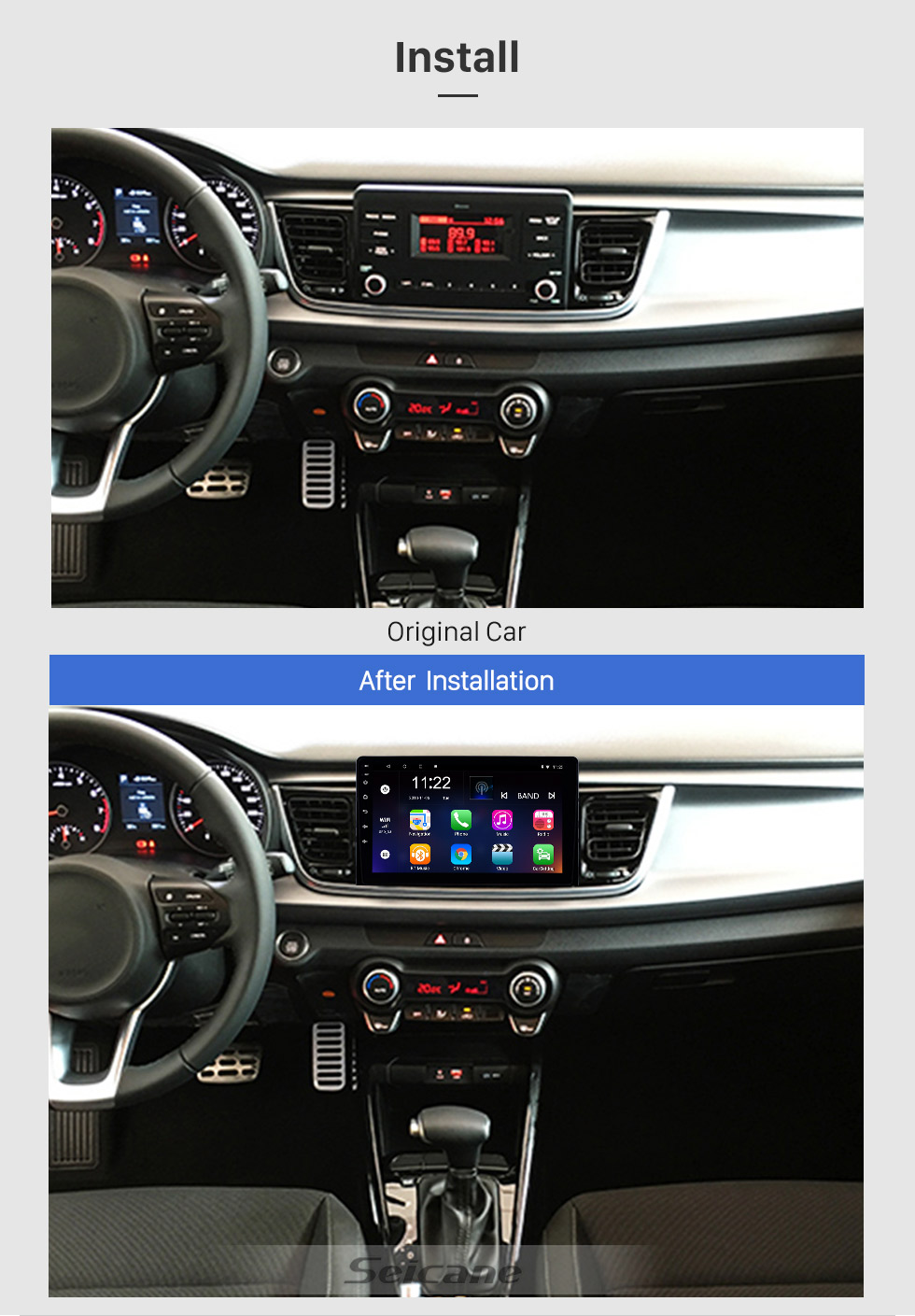 Seicane Android 8.1 9 inch HD Touchscreen GPS Navigation Radio for 2017 2018 2019 Kia Rio with Bluetooth USB WIFI support Carplay Digital TV Mirror Link