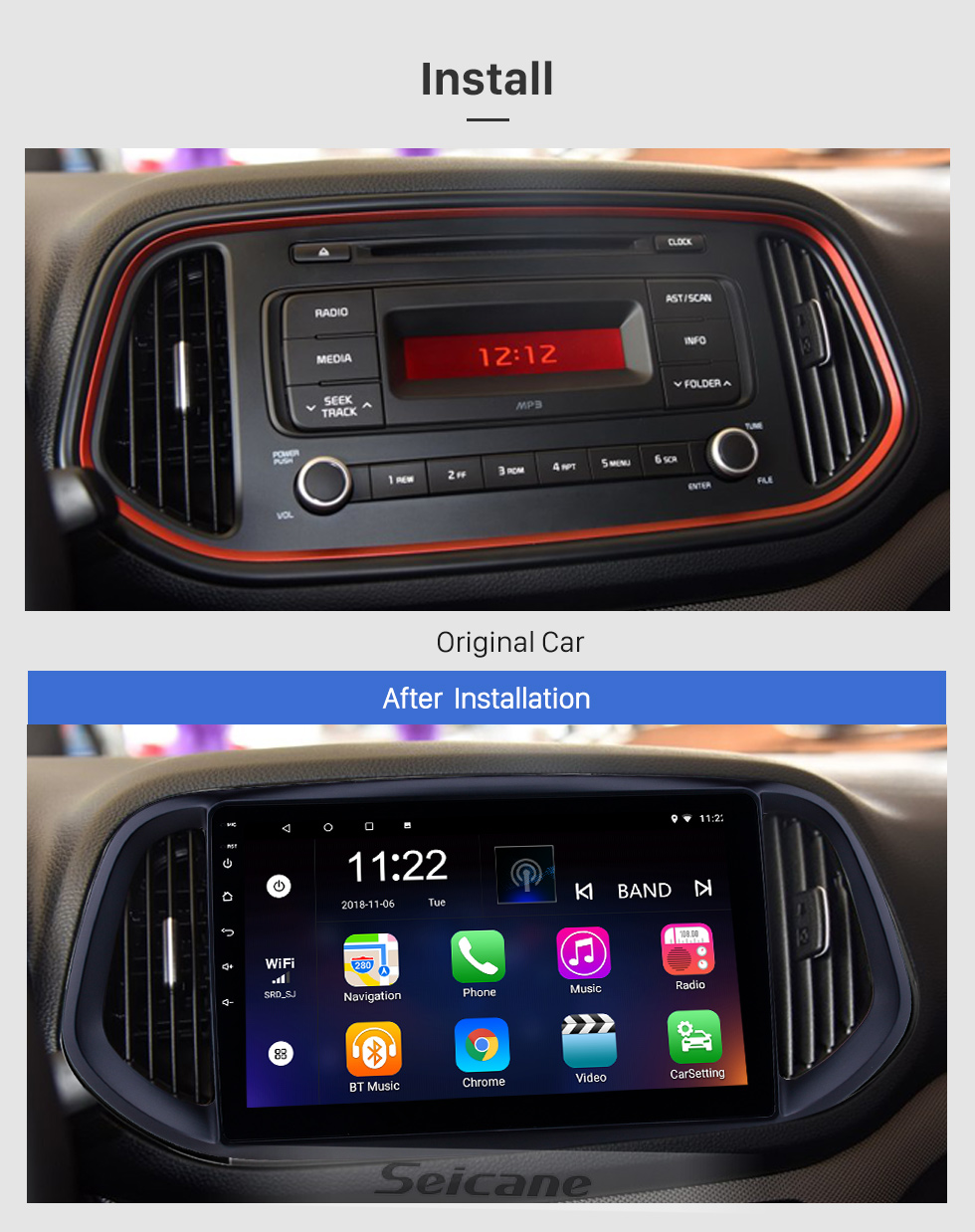 Seicane 10,1 pouces Android 8.1 2014 2015 2016 2017 Kia KX3 Radio de navigation avec Bluetooth HD à écran tactile WIFI Support de musique TPMS DVR Carplay Digital TV