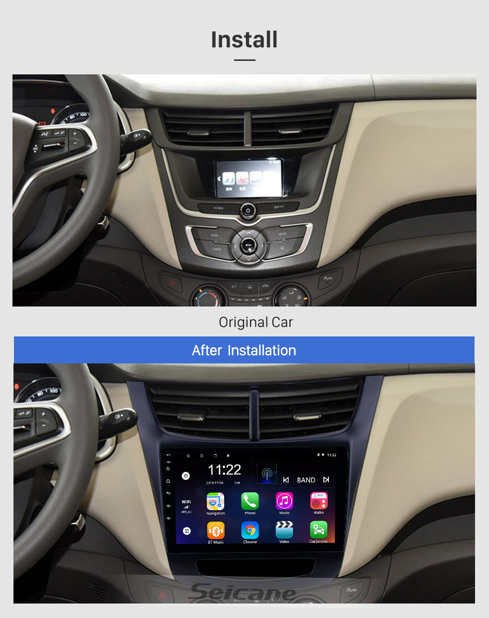 Seicane 2015-2016 Chevy Chevrolet New Sail 9 inch Android 8.1 HD Touchscreen Bluetooth GPS Navigation Radio USB AUX support Carplay 3G WIFI Mirror Link
