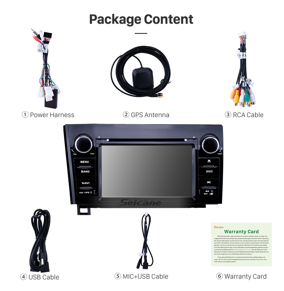 Seicane 7 inch Android 9.0 HD Touchscreen GPS Navigation Radio for 2008-2015 Toyota Sequoia/2006-2013 Tundra with Carplay Bluetooth WIFI USB support Mirror Link
