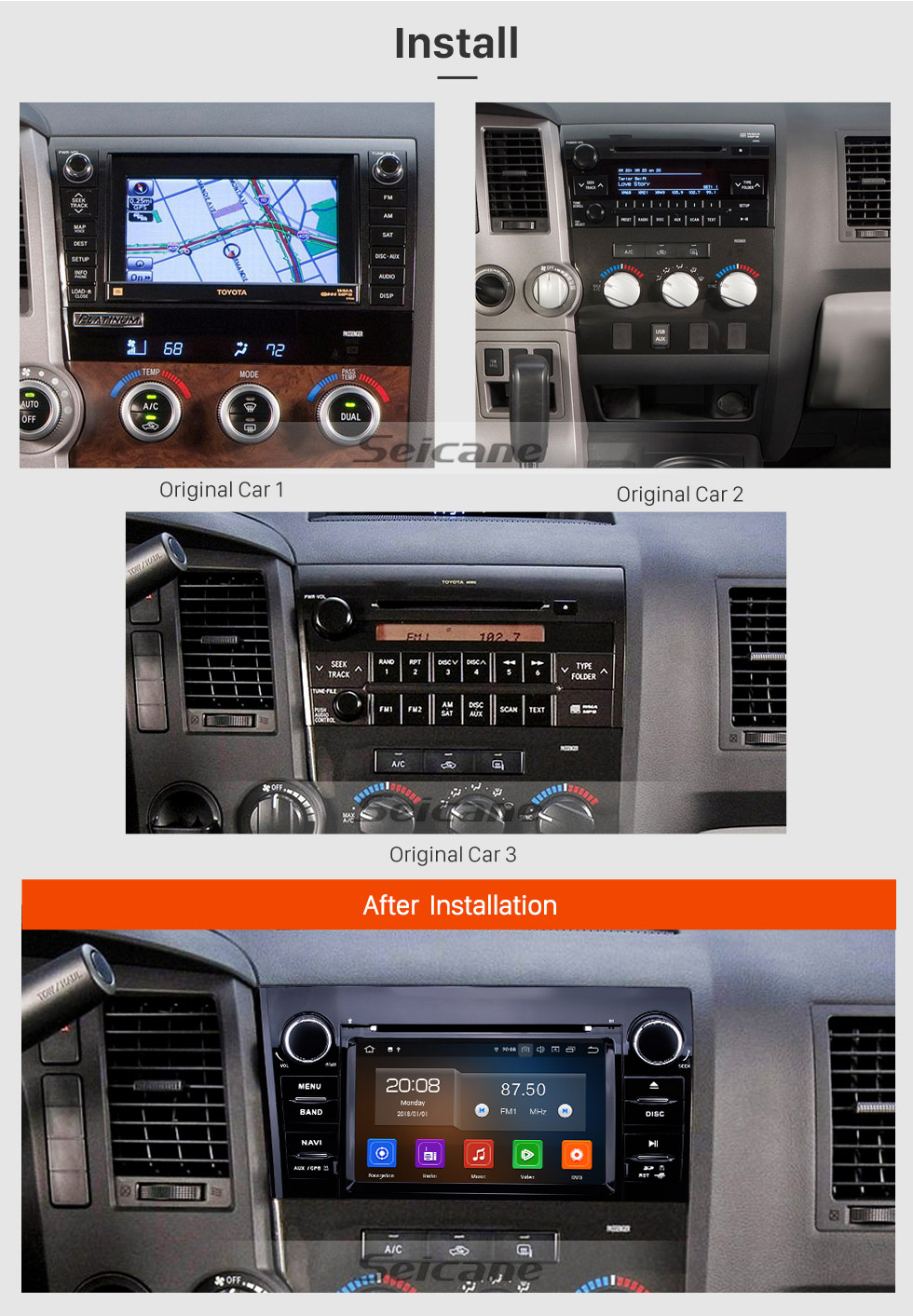 Seicane Radio de navegación GPS Android 9.0 de 7 pulgadas para 2008-2015 Toyota Sequoia / 2006-2013 Tundra Bluetooth HD Pantalla táctil Carplay USB AUX, compatible con video DVR 1080P