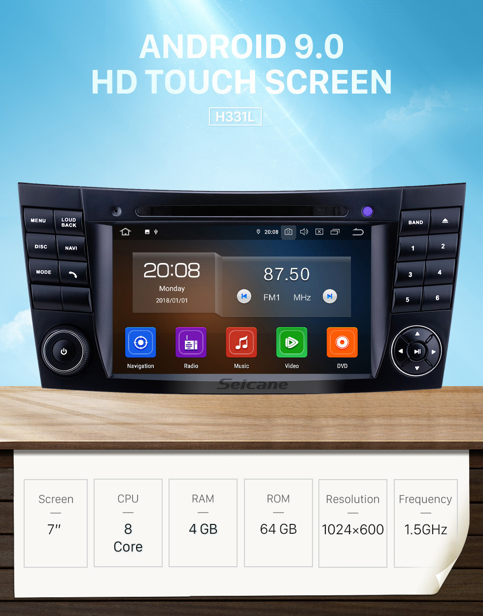 Seicane 7 inch 2002-2008 Mercedes Benz W211 Android 9.0 GPS Navigation Radio Bluetooth HD Touchscreen AUX WIFI Carplay support DAB+ 1080P TPMS