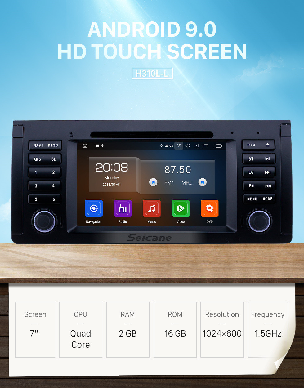 Seicane 7 inch Android 9.0 Radio for 1996-2003 BMW X5 E53 Bluetooth Wifi HD Touchscreen GPS Navigation Carplay USB support TPMS Mirror Link