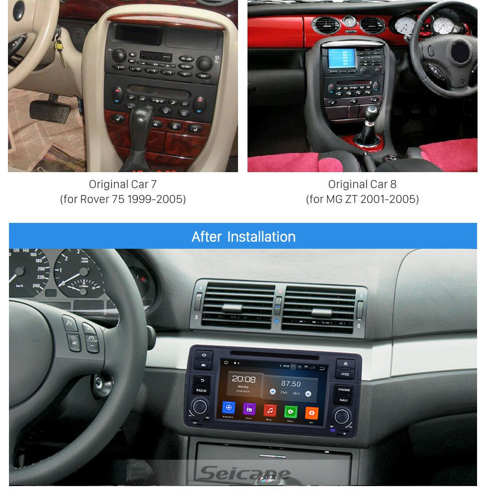 Seicane 7 inch Android 9.0 GPS Navigation Radio for 1999-2004 MG ZT with HD Touchscreen Carplay Bluetooth WIFI USB AUX support Mirror Link OBD2 SWC 1080P DVR
