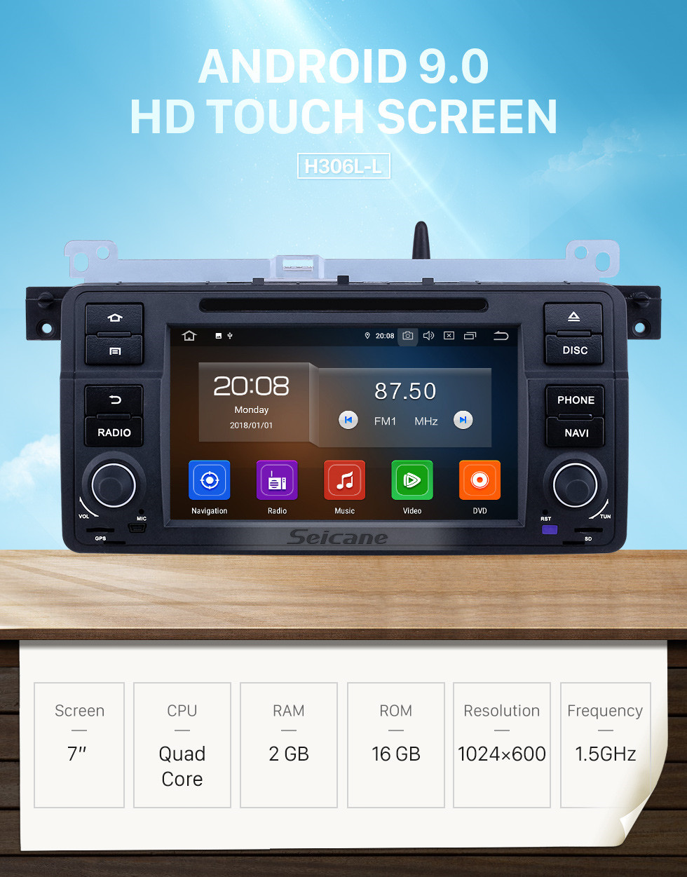 Seicane 7 inch Android 9.0 GPS Navigation Radio for 1999-2004 MG ZT with HD Touchscreen Carplay Bluetooth Music WIFI AUX support OBD2 SWC DAB+ DVR TPMS