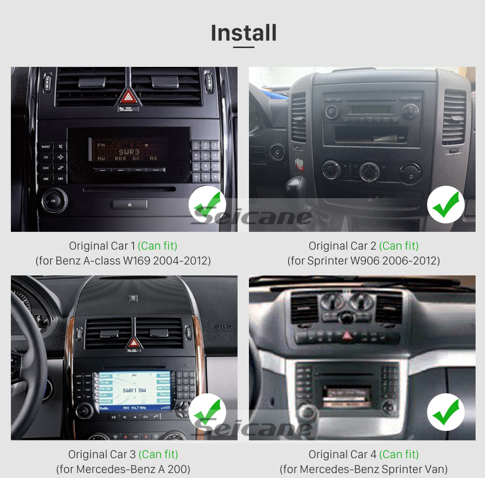 Seicane 7 inch Android 9.0 GPS Navigation Radio for 2006-2012 Mercedes Benz Viano Vito Bluetooth HD Touchscreen Carplay USB AUX support DVR 1080P Video